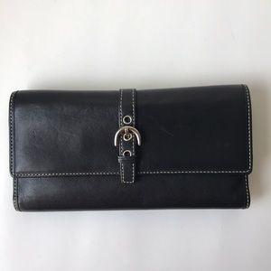 Coach Black Leather White Stitch Wallet Check Book